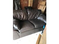 Leather sofa for sale chocolate brown good condition £20