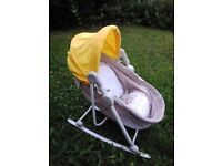 Great condition bouncer chair and cot