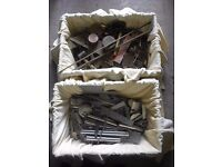 2 Crates of Metal Offcuts plus Set of Reamers and Vee Clamps