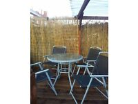 GLASS GARDEN TABLE CHAIRS SET