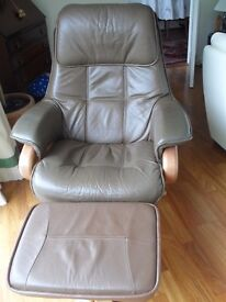 Reclining chair with footstool, brown faux leather