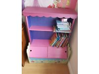 Pink purple bookcase storage shelves shoe box storage disney princess