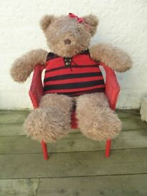 Massive Teddy Bear (110 cm Tall) with Red Ikea Wicker Chair