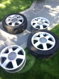 4 Audi, Seat or Volkswagen wheels and 2 Toyo Proxes T1 Tyres
