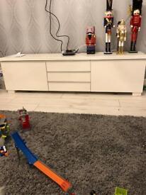 White gloss IKEA tv unit