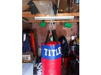 TITLE punch bag and gloves