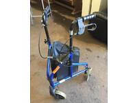 Blue three wheeled mobility walker, delivery available