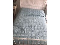 Laura Ashley duck egg quilted double/king size throw with beading on the hem