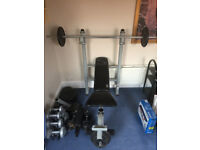 weights bench and free weights various