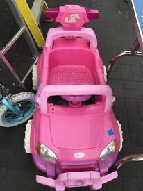 Pink electric kids car