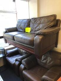 *** Large Brown Leather 3x1x1***Free Local Delivery***
