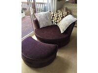 Large swivel love chair and footstool