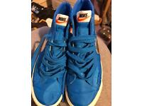 Blue and silver Nike trainers