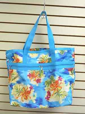 2 Piece Tote - TROPICAL FLORAL BEACH BAG TOTE WITH SMALL ZIPPER CASE - 2 PIECE SET