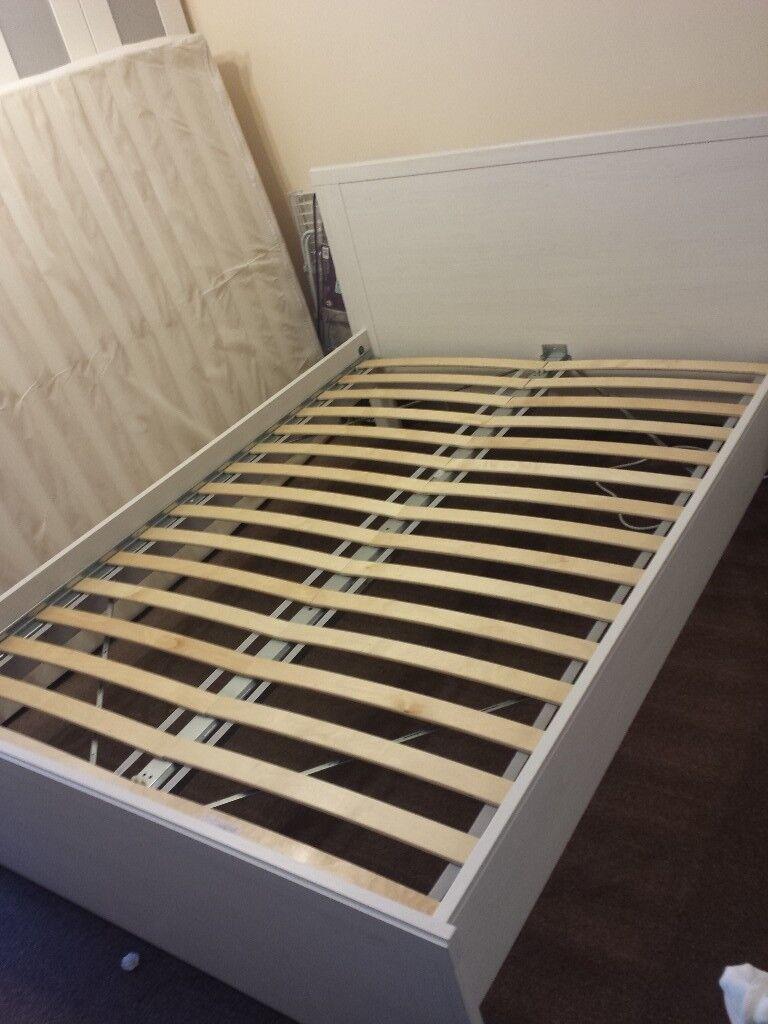 IKEA BRUSALI white double bed frame