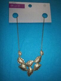 New M&S Limited Edition Gold Coloured Leaf Necklace IP1