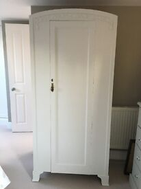 Pale Grey Painted French Armoire For Sale