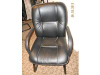 4 Leather high back chairs - black