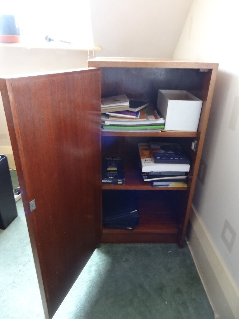"""Cupboard 14"""" x 15"""" x 30"""" high with 2 shelves. Mahogany-type finish."""