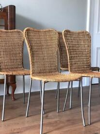 Set of 4 wicker dining chairs