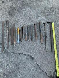 chisel pry bar and file