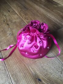 Satin Bridesmaid / Flower girl Stole / Wrap and Bag in Cerise, Brand New