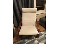 Oak Veneer IKEA Poang Chair and Footstool with White Cushions