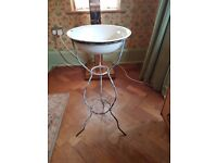 Vintage Metal wash stand with enamel bowl