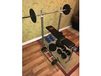 Weight Bench and Equipment.