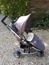 Petite Star 3 wheel pushchair, beige and black.