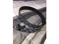 "Louis Vuitton Black and Grey Belt 30""-33"""