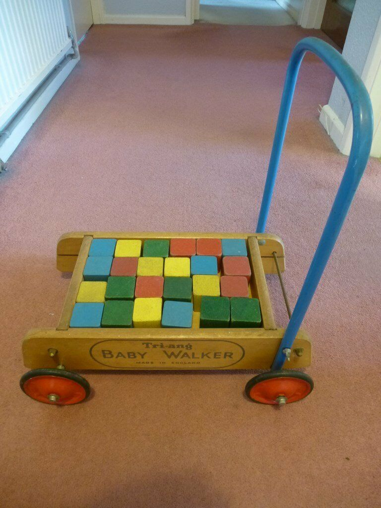 Baby Walker Tri Ang (Vintage 1960sin Willesden, LondonGumtree - Vintage 1960s Tri ang baby walker in good condition. Includes the original 24 multi coloured wooden blocks. The baby walker has been stored in an attic. Dimensions; Height 50cm, Length 45cm, Width (including wheels) 37cm. Suitable for a small child...