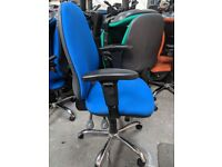 16 - OPERATOR CHAIRS - LARGE BACK - ADJUSTABLE ARMS - ALU BASES - BLUE VG COND