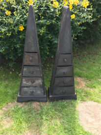 Two original Pyramid shaped wooden drawer units