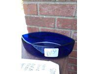 Blue glass dish.