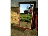 Retro wood framed mirror