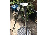 Triangle BBQ - Grill- charcoal swinging hanging standing BBQ - never used.