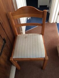 3 Pine chairs FREE need recovering