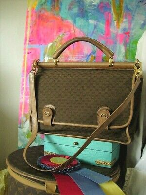 Vintage GUCCI Micro GG Satchel Work Boston Bag Purse Handbag Tote Keepall GG