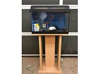 Small Aquarium On Beech-Colour Stand Including Accessories