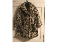 Ladies leopard print faux fur coat
