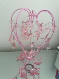 Pink metal + crystal-pendant lampshade NEW