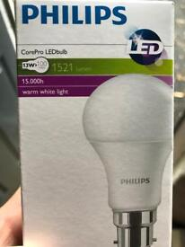 Philips 13w LED (100w) bayonet bulbs