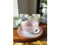 Set of 6 Pastel Cups & Saucers
