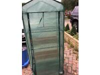 Green house with trays and a used condition