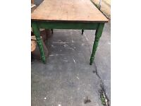 DINING TABLE FARMHOUSE COUNTRY STYLE PINE RUSTIC GREEN SEATS 4-6
