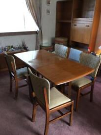 Mid century solid teak folding table with 4 chairs