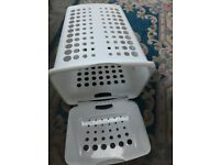 White Washing Basket with Opening Lid. New