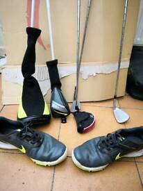 Nike golf clubs and shoes