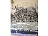 Double Bed-frame White Metal - SOLD